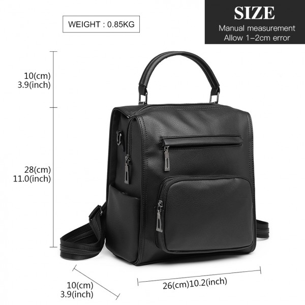 LB1967 - Miss Lulu Leather Look Multi-way Backpack Shoulder Bag - Black