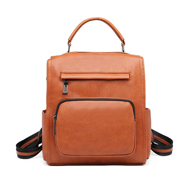 LB1967 - Miss Lulu Leather Look Multi-way Backpack Shoulder Bag - Brown