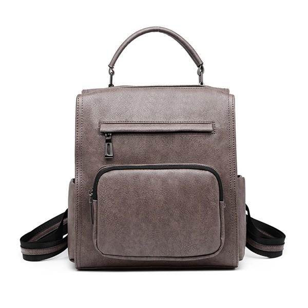 LB1967 - Miss Lulu Leather Look Multi-way Backpack Shoulder Bag - Grey