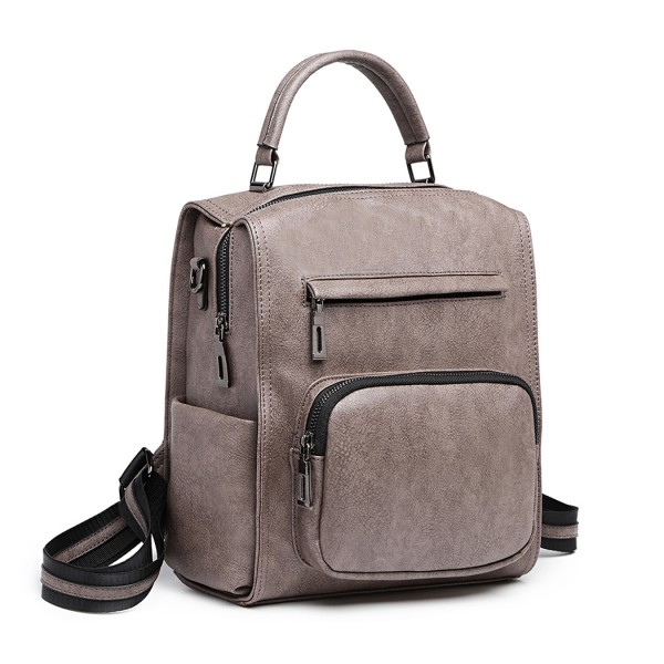 LB1967 - Miss Lulu Leather Look Multi-way Backpack Shoulder Bag - Grey