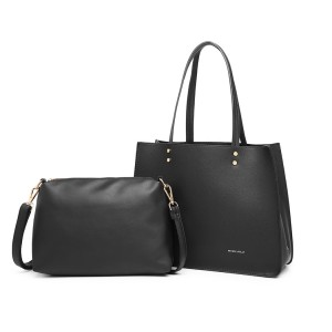 LB1969 - Miss Lulu 2 Piece Handbag and Cross Body Bag Set - Black