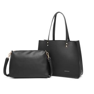 LB1969 - Miss Lulu 2-teiliges Handtaschen- und Umhängetaschen-Set - Schwarz
