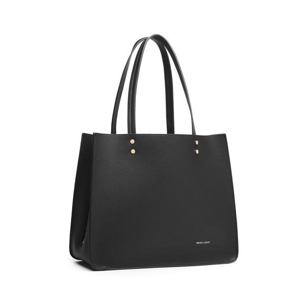 LB1969 - Miss Lulu 2 Piece Handbag and Cross Body Bag Set - Black