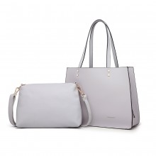 LB1969 - Miss Lulu 2 Piece Handbag and Cross Body Bag Set - Grey