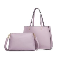 LB1969 --Miss Lulu 2 Bucata Handbag si Cross Body Bag Set --Pink
