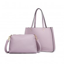 LB1969 - Miss Lulu 2 Piece Handbag and Cross Body Bag Set - Pink
