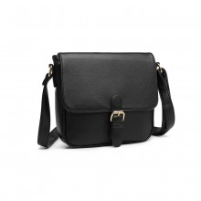 LB2003 - Miss Lulu Classic Cross Body Shoulder Bag - Black