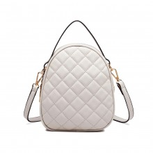LB2007 - Miss Lulu Quilted Multi Compartment Shoulder Handbag - Beige