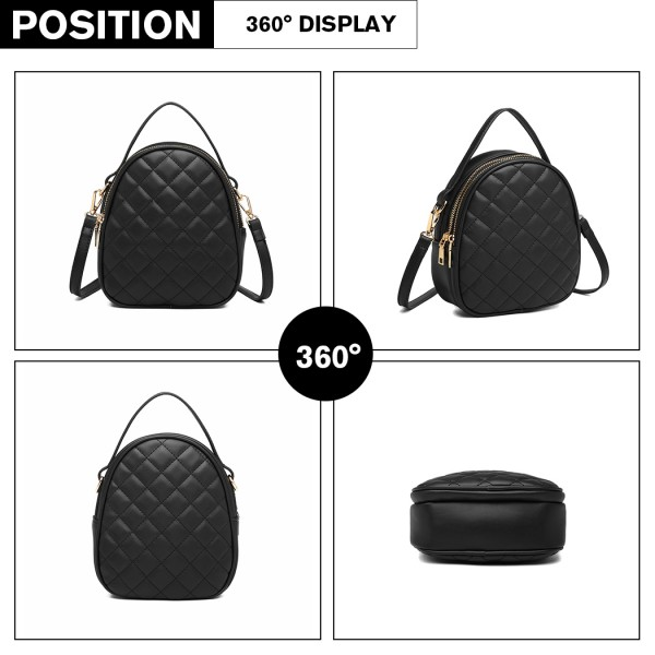LB2007 - Miss Lulu Quilted Multi Compartment Shoulder Handbag - Black