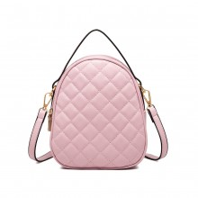 LB2007 - Miss Lulu Quilted Multi Compartment Shoulder Handbag - Pink