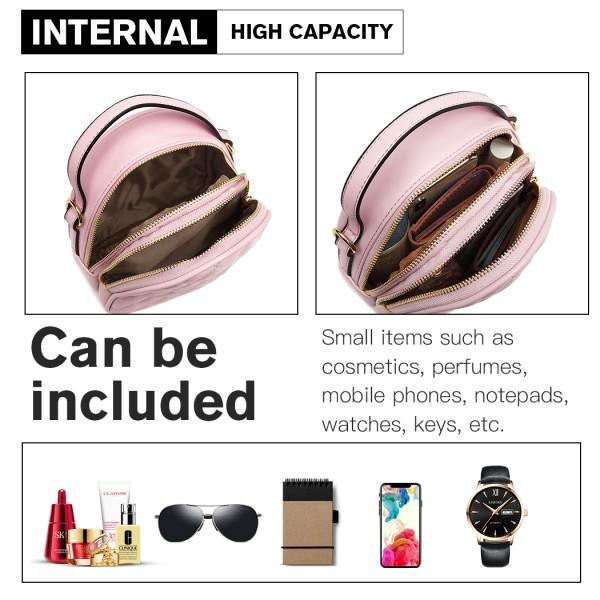 LB2007 - Miss Lulu Quilted Multi Compartment Shoulder Handbag - Pink