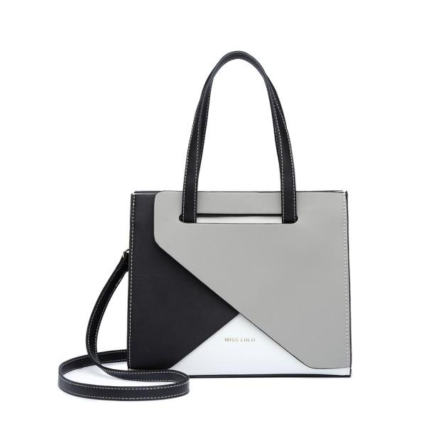 LB2008 - Miss Lulu Contrast Panel Shoulder Bag - Grey
