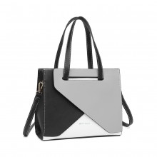 LB2008 - Miss Lulu Contrast Panel Shoulder Bag - Grey