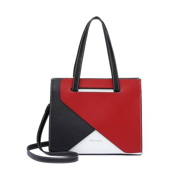 LB2008 - Miss Lulu Contrast Panel Shoulder Bag - Red
