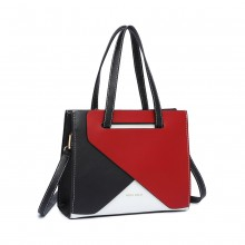 LB2008 - Miss Lulu Contrast Panel Shoulder Bag - Red