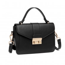 LB2033 - Miss Lulu Leather Look Midi Handbag - Black