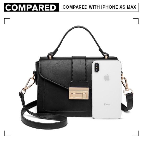 LB2033 - Miss Lulu Leather Look Midi Handbag - Black