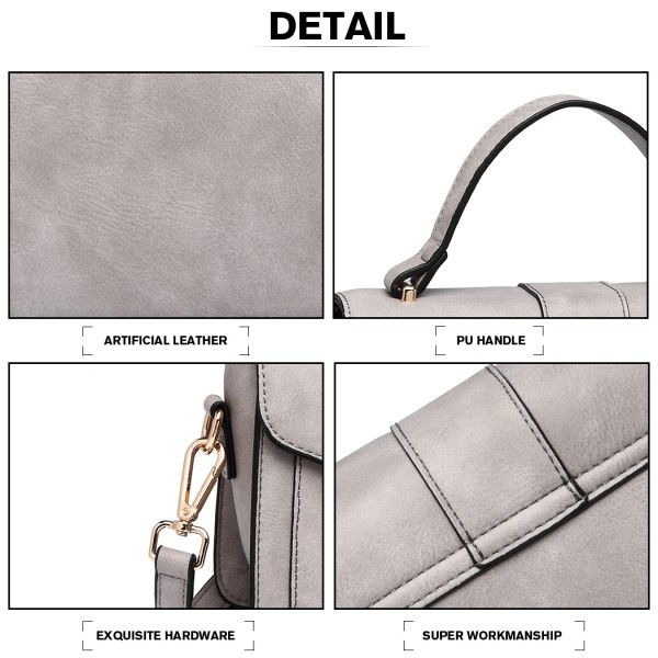 LB2033 - Miss Lulu Leather Look Midi Handbag - Grey