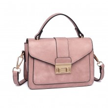 LB2033 - Miss Lulu Leather Look Midi Handbag - Pink