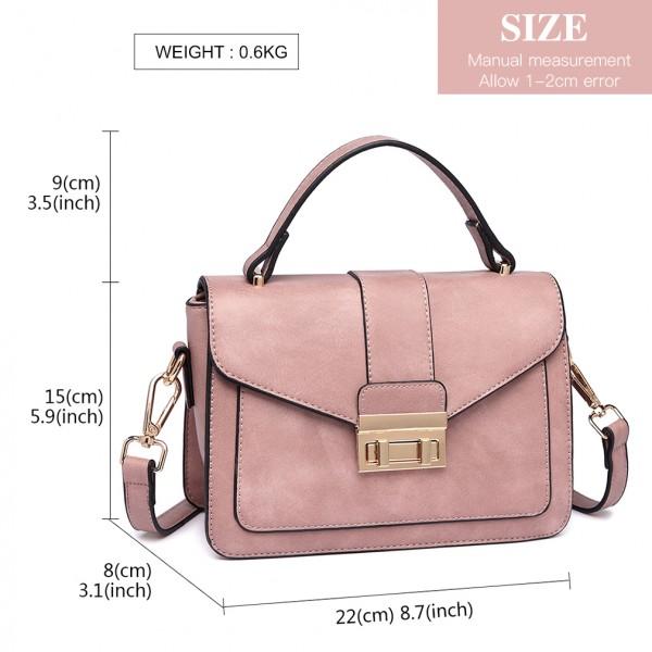 LB2033 - Miss Lulu Leather Look Midi Handbag - Pink