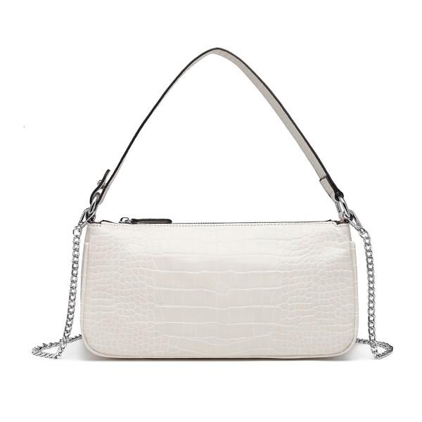 LB2066 - Miss Lulu Croc Embossed Baguette Bag - White