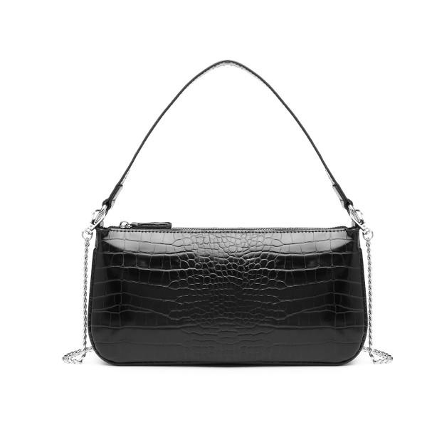 LB2066 - Miss Lulu Croc Embossed Baguette Bag - Black