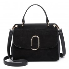 LB6871-MISS LULU STYLISH LADIES LEATHER HANDBAG SHOULDER BAG BLACK