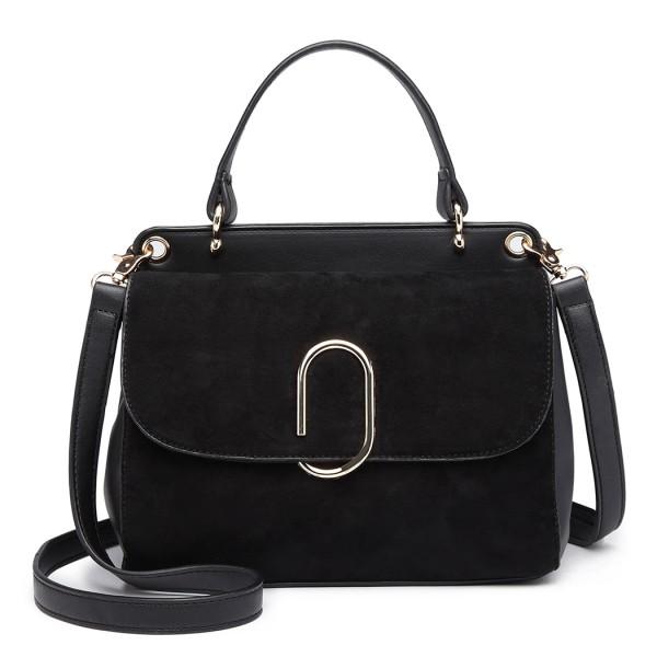 LB6871-MISS LULU STYLISH LADIES LEATHER HANDBAG SHOULDER BAG BLACK