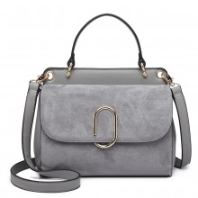 LB6871-MISS LULU STYLISH LADIES LEATHER HANDBAG SHOULDER BAG GREY