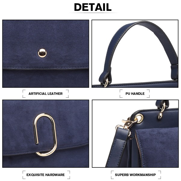 LB6871-MISS LULU STYLISH LADIES LEATHER HANDBAG SHOULDER BAG NAVY