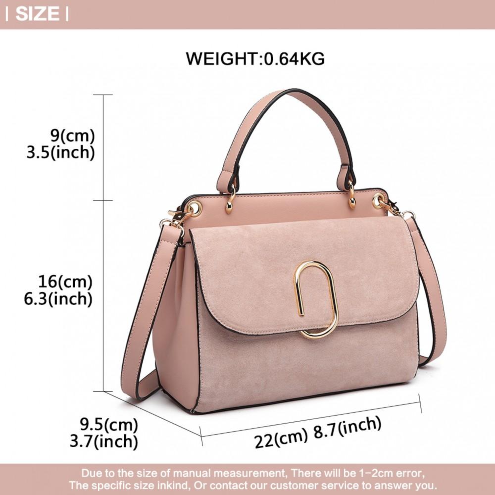 Handtasche Damen Leder Miss Lulu Stylish Pink Umhängetasche Lb6871 WEHY9De2I