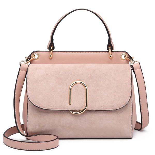 LB6871-MISS LULU STYLISH LADIES LEATHER HANDBAG SHOULDER BAG PINK