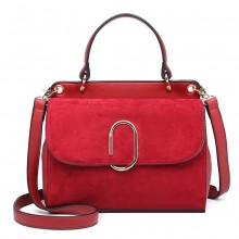 LB6871-MISS LULU STYLISH LADIES LEATHER HANDBAG SHOULDER BAG RED