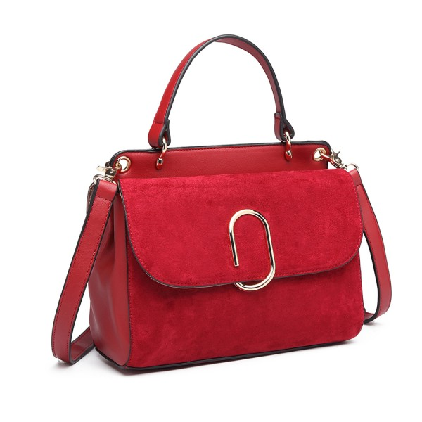 LB6871-MISS LULU STYLISH LADIES LEATHER HANDBAG SHOULDER BAG RED