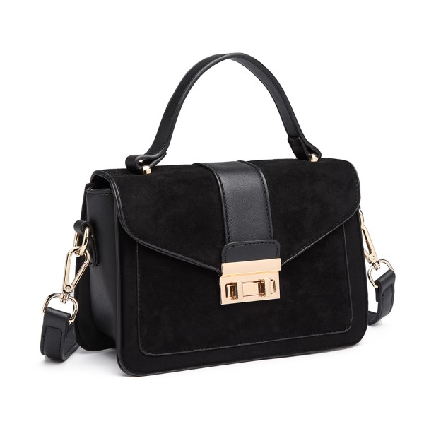 LB6872 - Miss Lulu Matte Leather Midi Handbag - Black