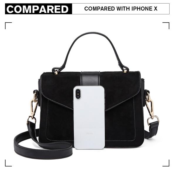 LB6872 - Miss Lulu Matte Leather Midi Handbag - Black