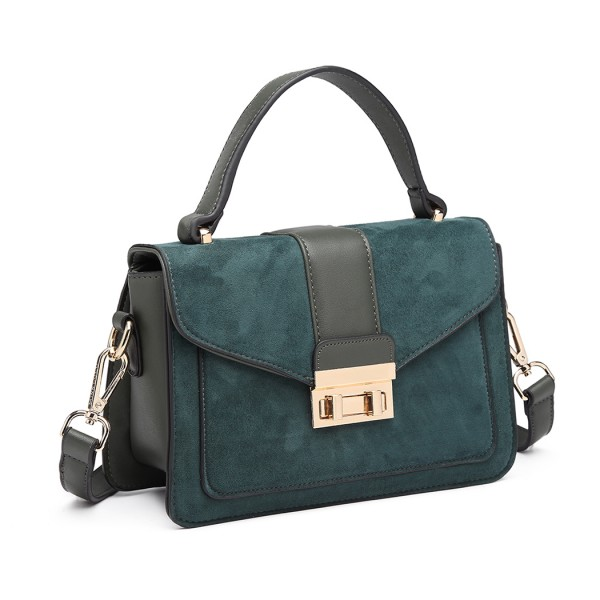 LB6872 - Miss Lulu Matte Leather Midi Handbag - Green