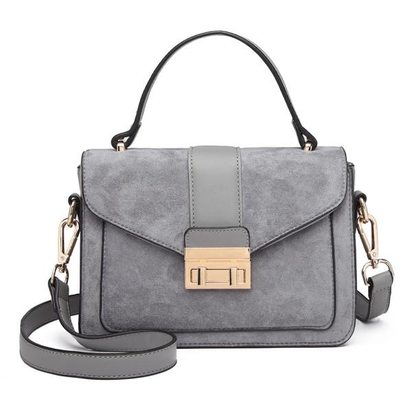 LB6872 - Miss Lulu Matte Leather Midi Handbag - Grey