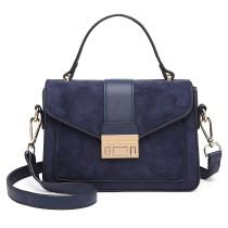 LB6872- panna Lulu Matte Leather Midi Handbag- Marynarka Wojenna