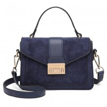 LB6872 - Miss Lulu Matte Leather Midi Handbag - Navy