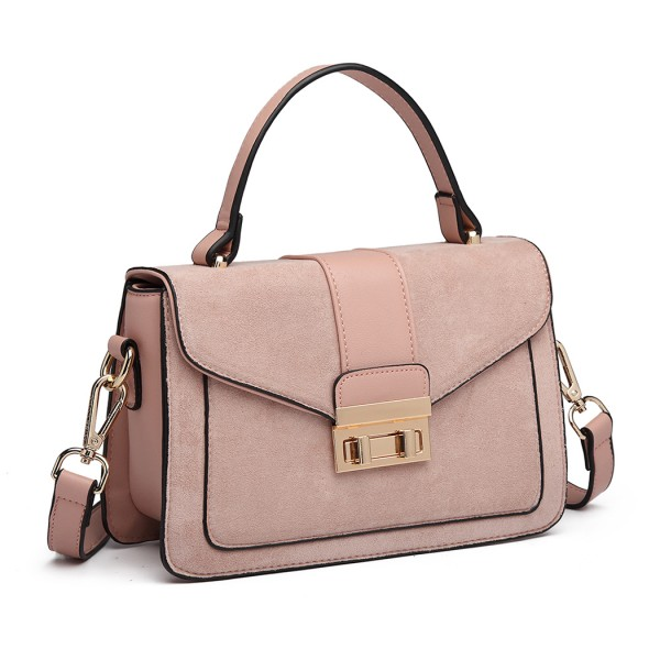 LB6872 - Miss Lulu Matte Leather Midi Handbag - Pink