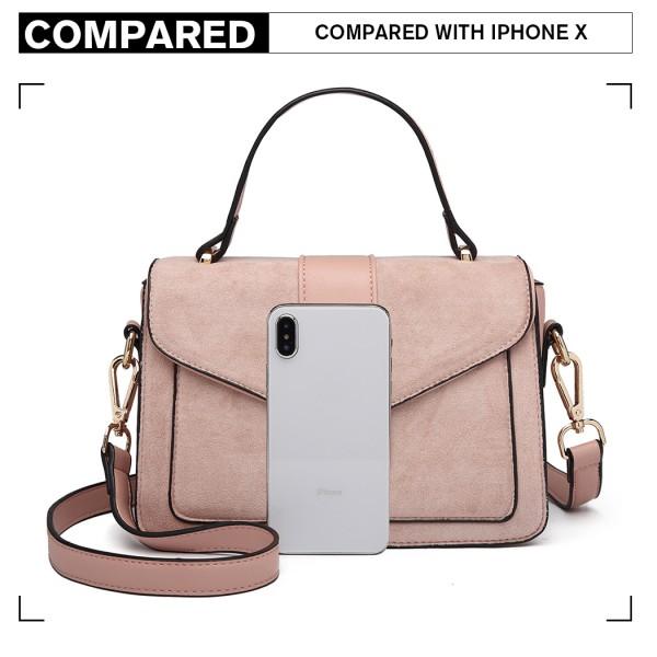 LB6872 - Miss Lulu Matte Leather Midi Handbag - Pink