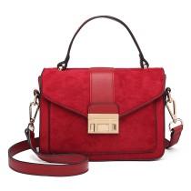 LB6872-MISS LULU STYLISH MATTE LEATHER HANDBAG SHOULDER BAG RED