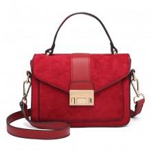 LB6872 - Miss Lulu Matte Leather Midi Handbag - Red