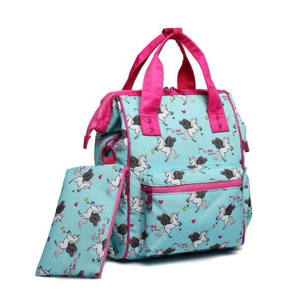 LB6896 - Miss Lulu Child's Unicorn Backpack with Pencil Case - Blue
