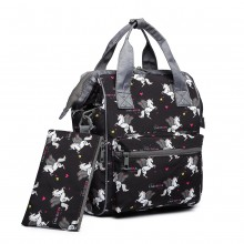 LB6896-MISS LULU MULTI-FUNCTIONAL UNICORN SCHOOL BACKPACK BLACK