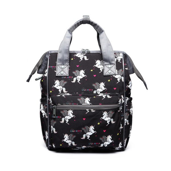 LB6896 - Miss Lulu Child's Unicorn Backpack with Pencil Case - Black