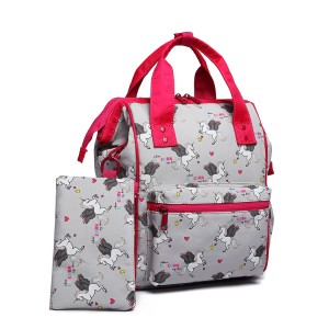 LB6896 - Miss Lulu Child's Unicorn Backpack with Pencil Case - Grey