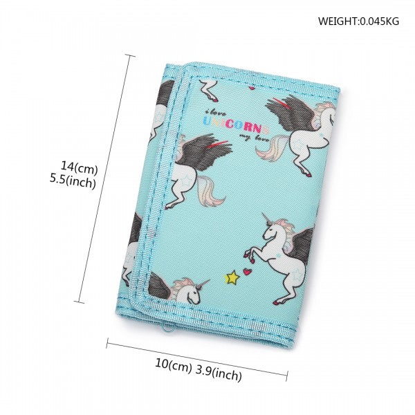LB6897 - Miss Lulu Child's Unicorn Tri-fold Wallet - Blue