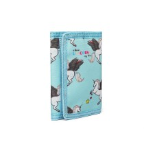 LB6897 --Domnisoara Lulu Child's Unicorn Tri-fold Wallet --Blue
